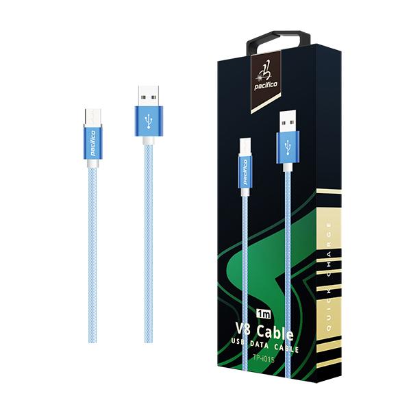 Cable micro usb/v8 (1m) azul - gama premium – tp i015 1