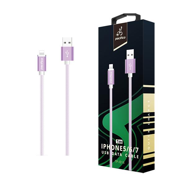 Cable iphone 6/7/8/x/11 (1m) morado gama premium – tp i016 1