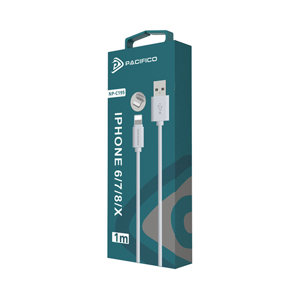 Cable iphone 6/7/8/x/11 (1m) blanco - np c195/i195 3