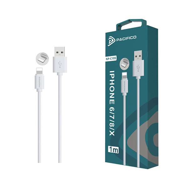 Cable iphone 6/7/8/x/11 (1m) blanco - np c195/i195 1
