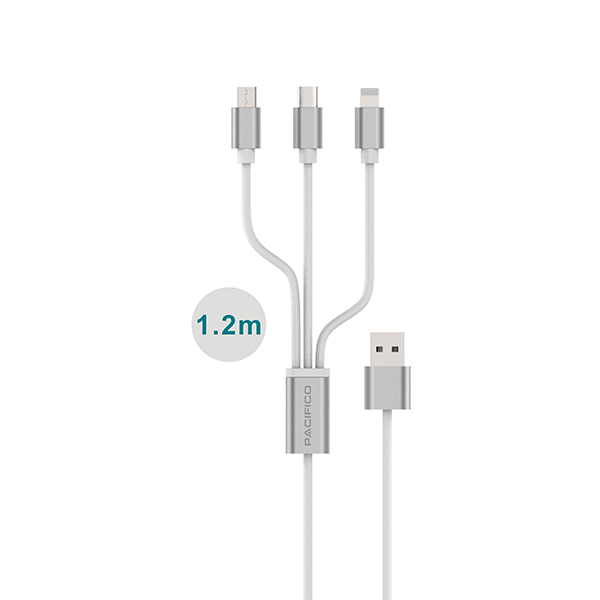 Cable 3 en 1 usb: micro usb/tipo c/lightning (iphone) np i466 2