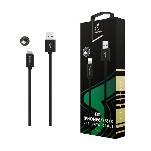 Cable iphone 6/7/8/x/11 (1m) negro gama premium – tp i019 1