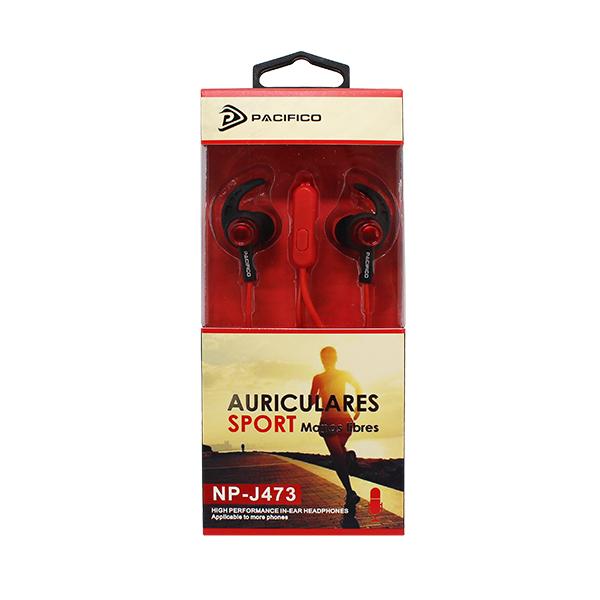 Auriculares deportivos np j473 - rojo 2