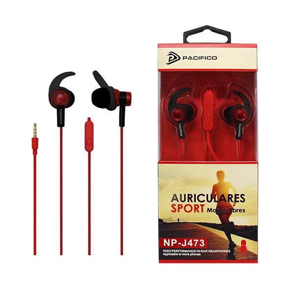 Auriculares deportivos np j473 - rojo 1