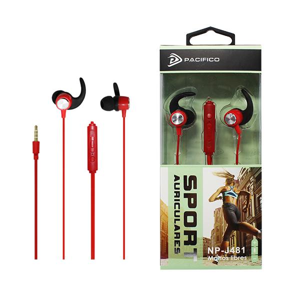 Auriculares deportivos np-j481 rojo 1