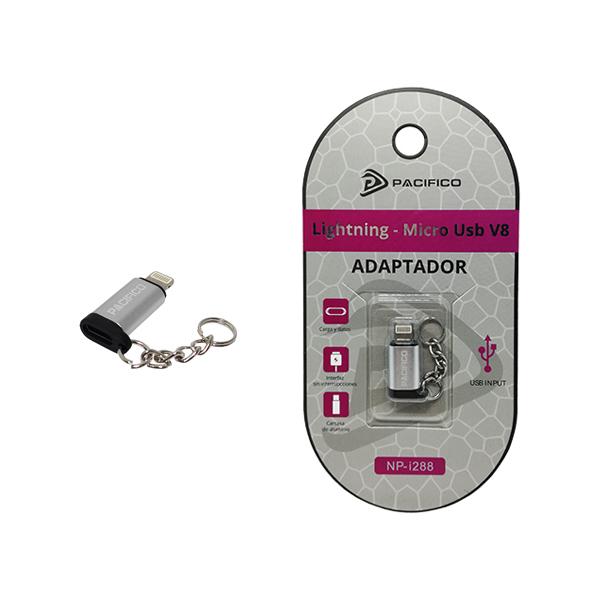 Mini adaptador de micro usb v8 – iphone np-i288 plata 1