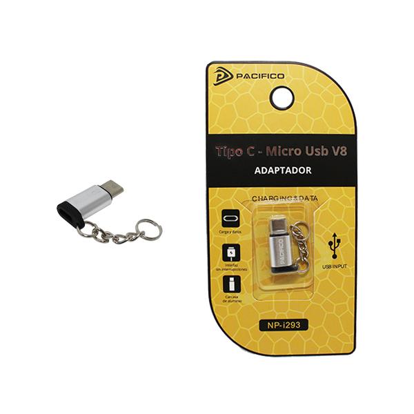 Mini adaptador de micro usb v8 – tipo c np-i293 plata 1