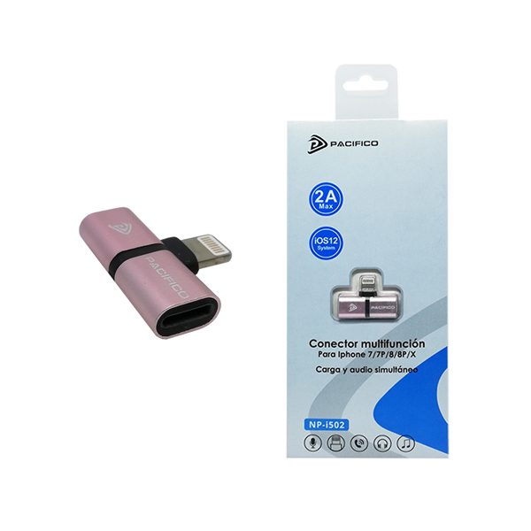 Adaptador lightning a doble lightning np-i502 rosa 1
