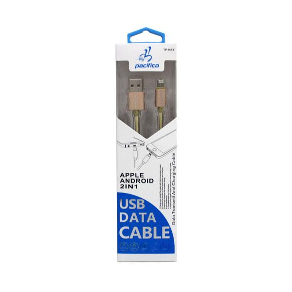 Cable usb 2 en 1 v8+iphone 6s tp-i553 2
