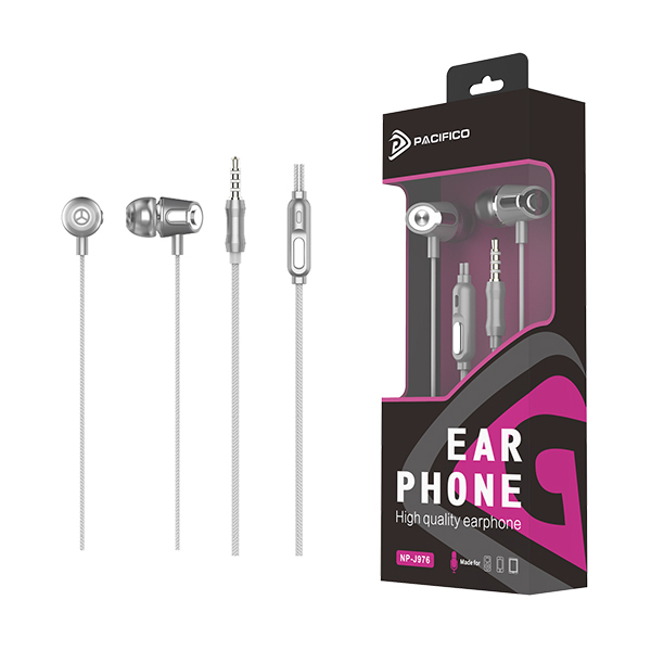 Auriculares con micrófono 1. 2m np-j976 plata 1