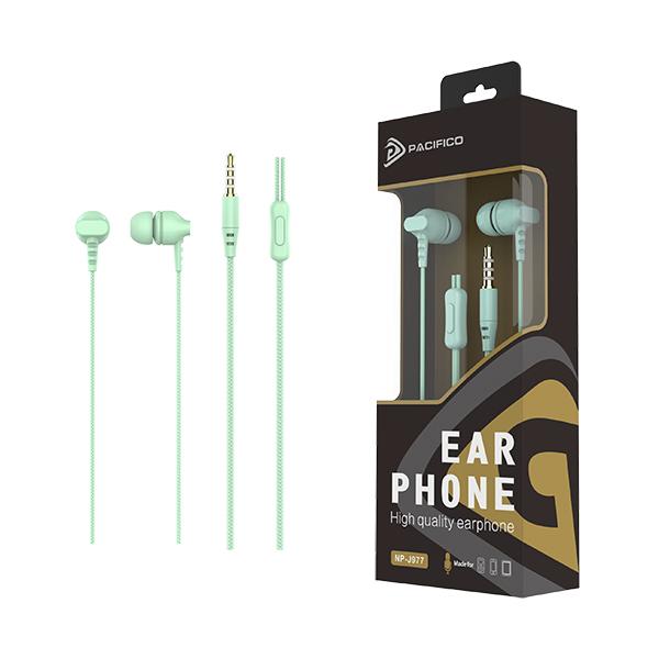 Auriculares con micrófono np-j977 verde 1