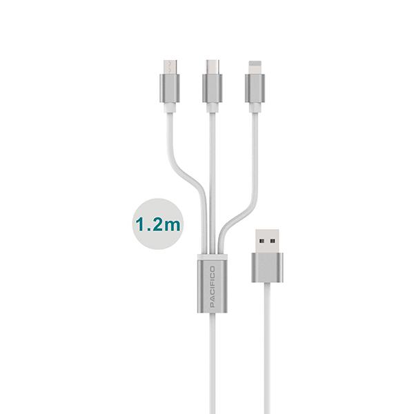 Cable 3 en 1 usb: micro usb/tipo c/lightning np-i466 2