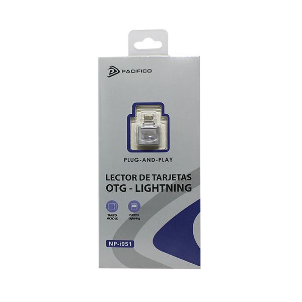 Lector de tarjetas micro sd conector lightning np-i951 -plata 4