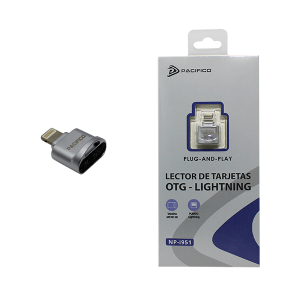 Lector de tarjetas micro sd conector lightning np-i951 -plata 1