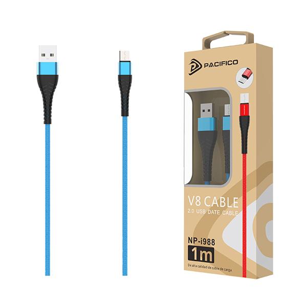 Cable usb-micro usb v8 np-i988 – azul 1