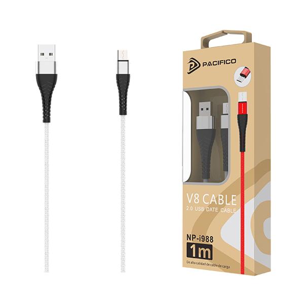 Cable usb-micro usb v8 np-i988 – blanco 1